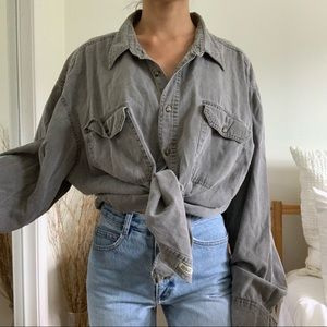 Vintage Gray Bugle Boy Button Down Long Shirt